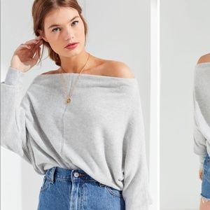 project social t   off the shoulder gray sweater